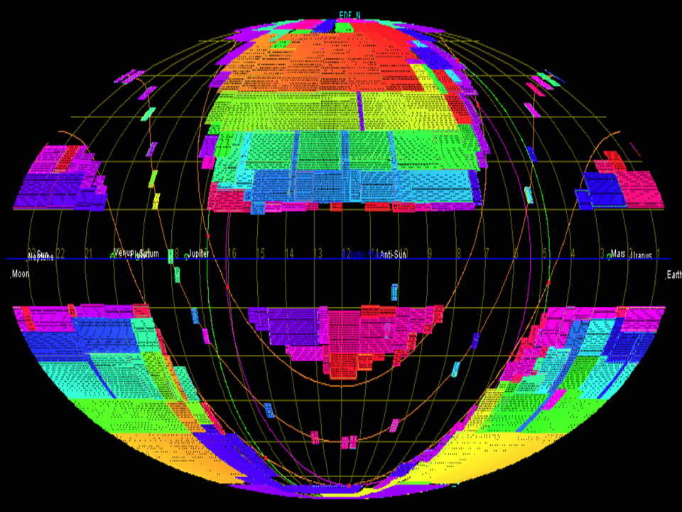 Sky covered by the Euclid mission at completion (6 year)- Courtesy Euclid Consortium/ESA/Science Survey Working Group